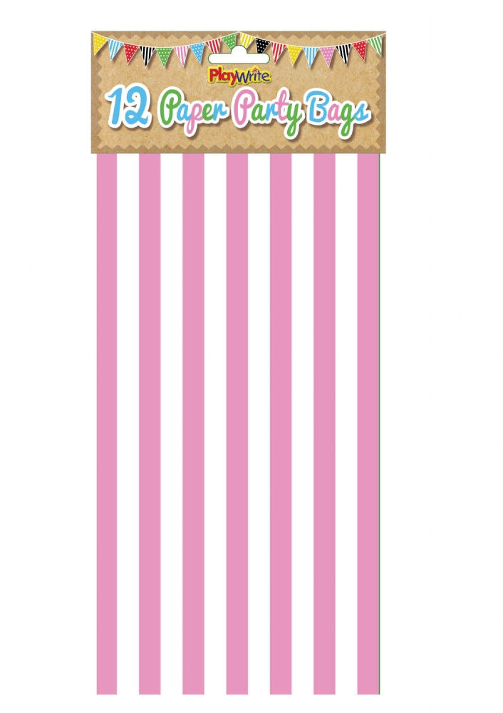 12 Pink Stripe Paper Bags - Party Perfecto
