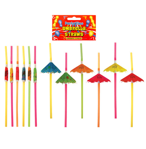 12 Hawaiian Umbrella Straws - Party Perfecto