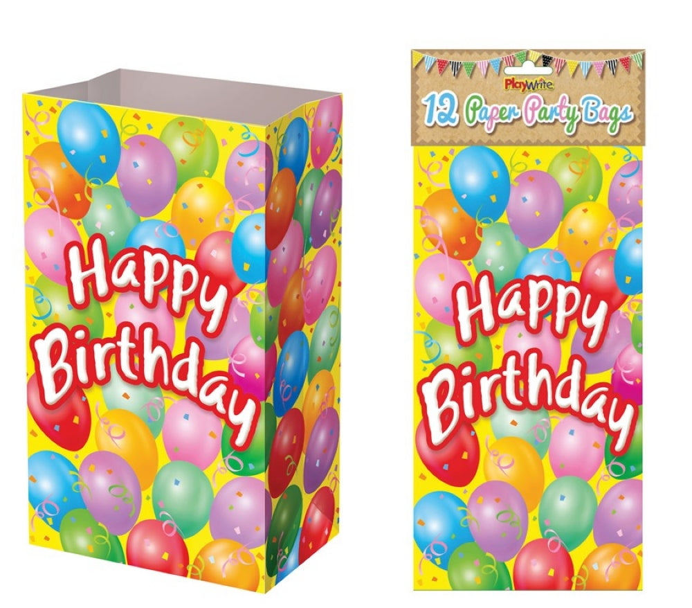 12 Happy Birthday Paper Bags - Party Perfecto