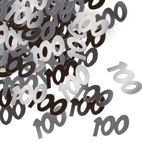 100th Black Glitz Confetti