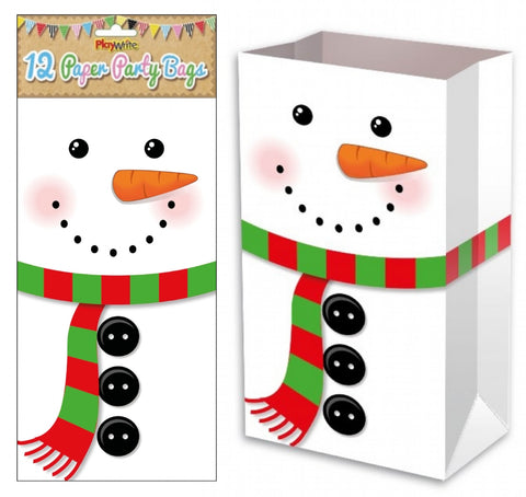 12 Snowman Paper Bags - Party Perfecto