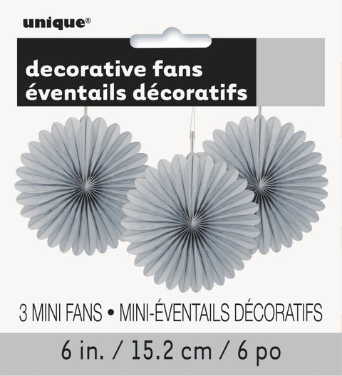 3 Mini Silver Paper Fan Decorations