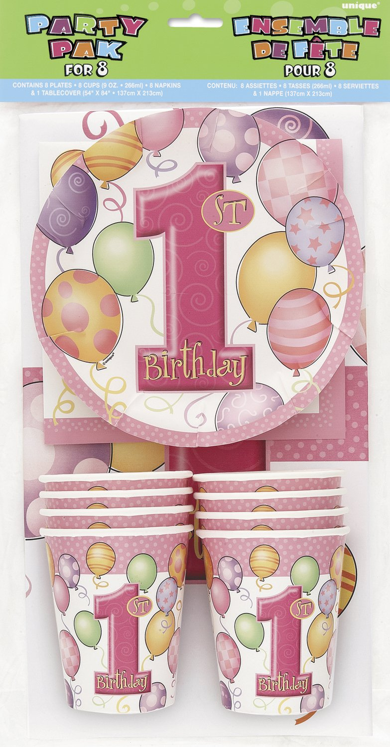 First Birthday Pink - Party Pak For 8 - Party Perfecto