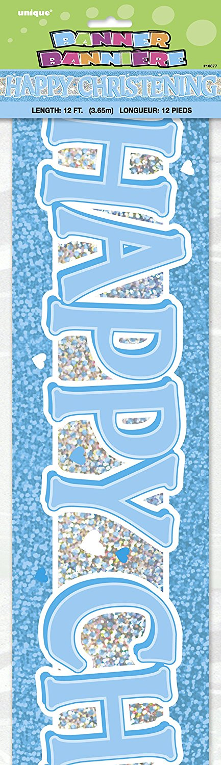 Blue Happy Christening 12ft Holographic Foil Banner