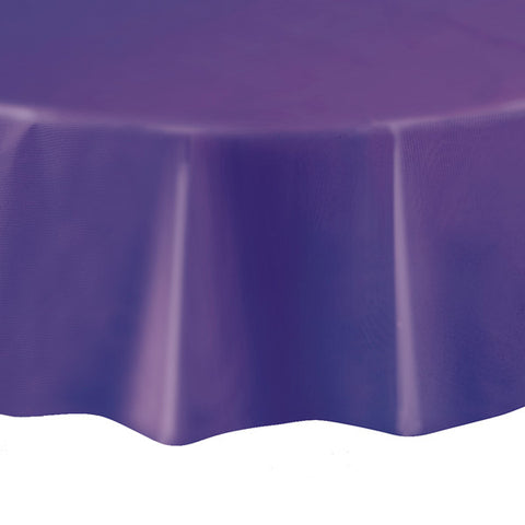 "Purple Round 84"" Plastic Tablecover"