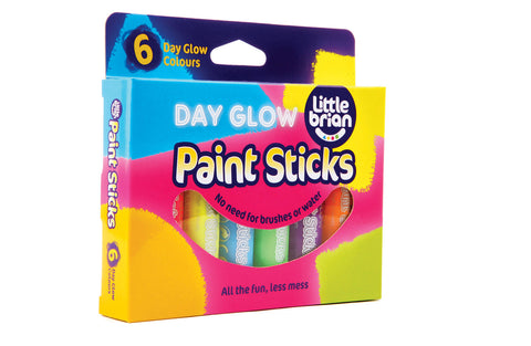 Little Brain Paint Sticks Day Glow Colours - 6 Assorted