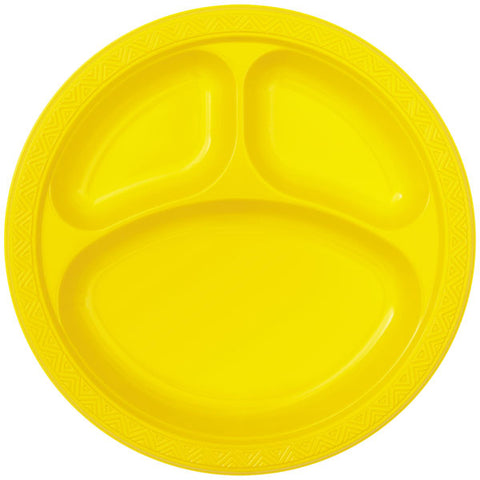 "6 Yellow Plastic 10"" Compartment Plates"