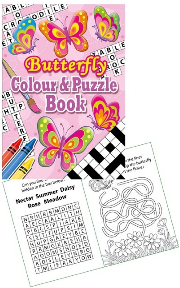6 Butterfly Colour & Puzzle Books