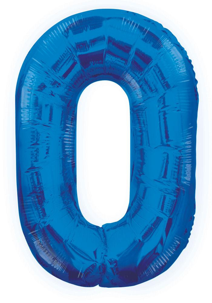 "0 - Blue 34"" Numeral Balloon - Party Perfecto"
