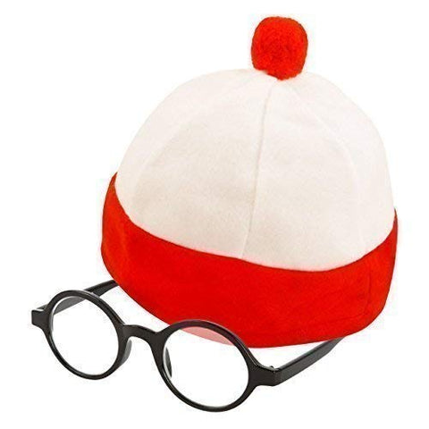 Adults Red Bobble Hat & Glasses