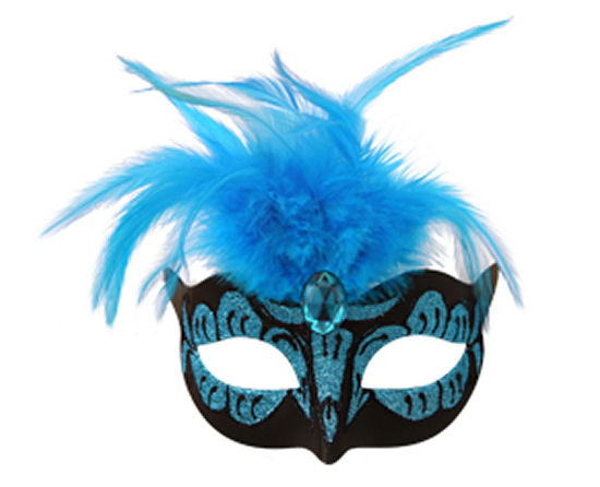 Neon Light Blue Mask With Feathers