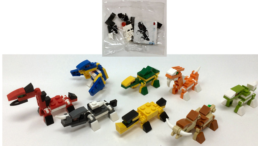 6 Dinosaur Building Brick Kits