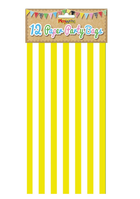 12 Yellow Stripe Paper Bags - Party Perfecto
