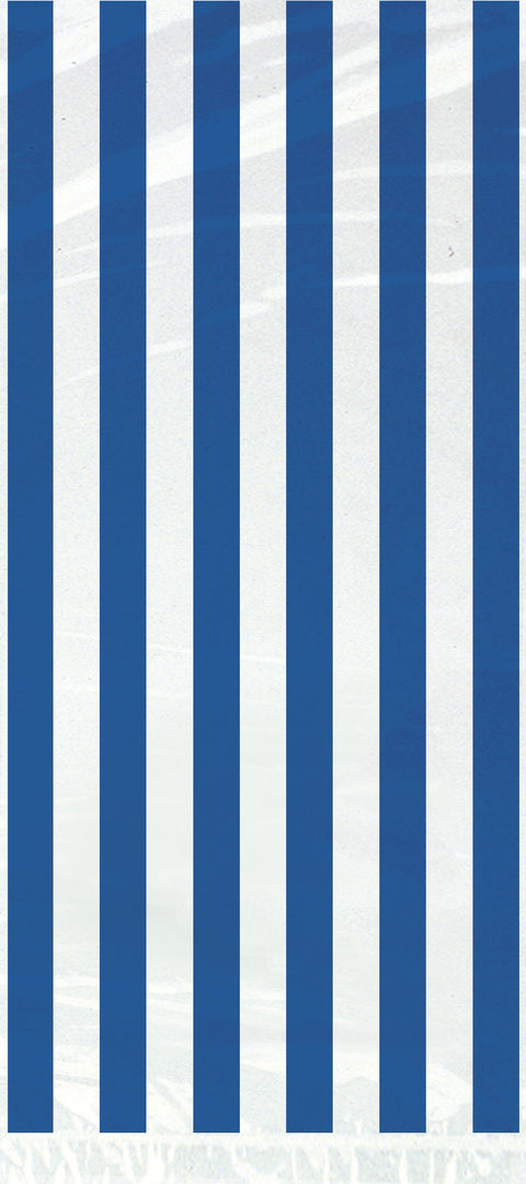 20 Royal Blue Striped Cellophane Bags - Party Perfecto