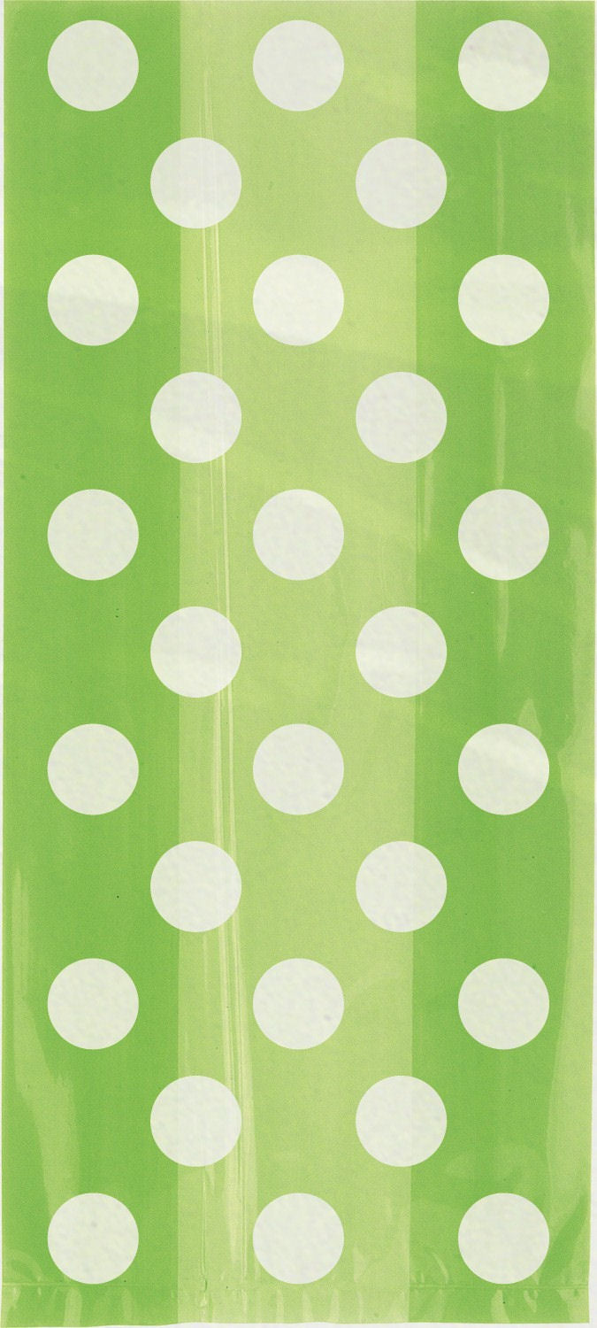 20 Lime Green Spotty Cellophane Gift Bags