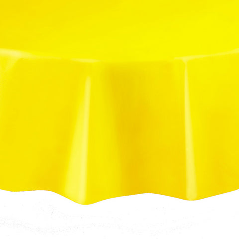 "Yellow Round 84"" Plastic Tablecover"
