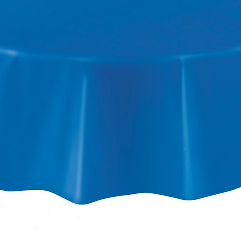 "Royal Blue Round 84"" Plastic Tablecover"