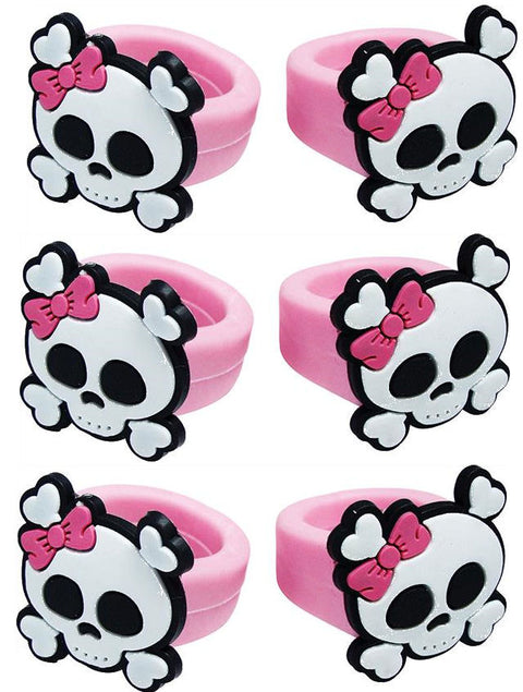 6 Pink Pirate Rings