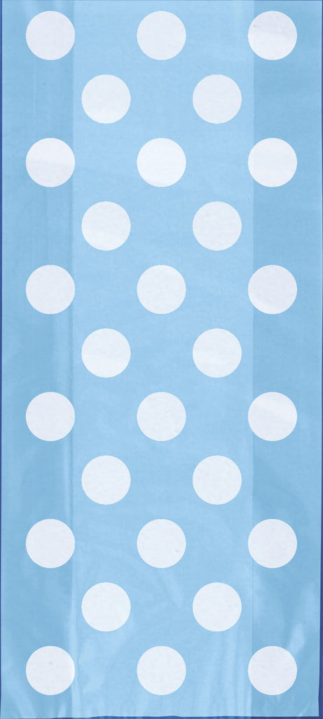 20 Powder Blue Spotty Cellophane Bags