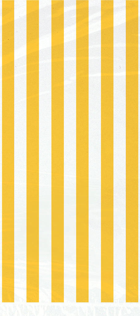 20 Sunflower Yellow Striped Cellophane Bags