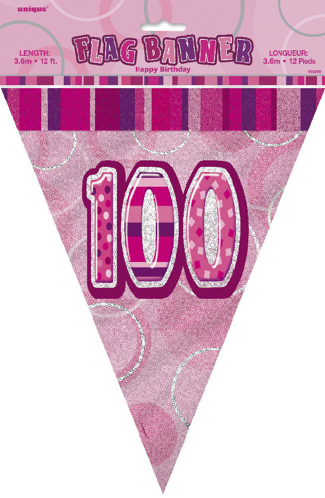 100th Pink Glitz Bunting - Party Perfecto