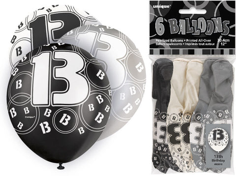 6 Black 13th Glitz Latex Balloons