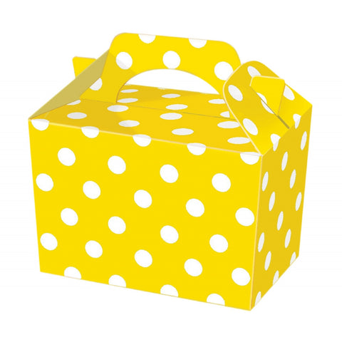 10 Yellow Polka Dot Boxes - Party Perfecto