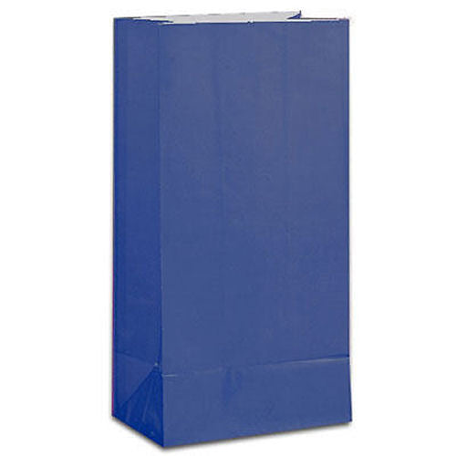 12 Royal Blue Paper Gift Bags - Party Perfecto