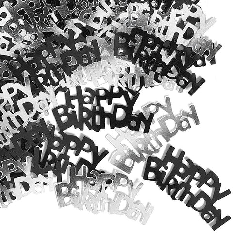 Happy Birthday Black Glitz Confetti