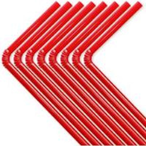 50 Red Flexable Plastic Straws
