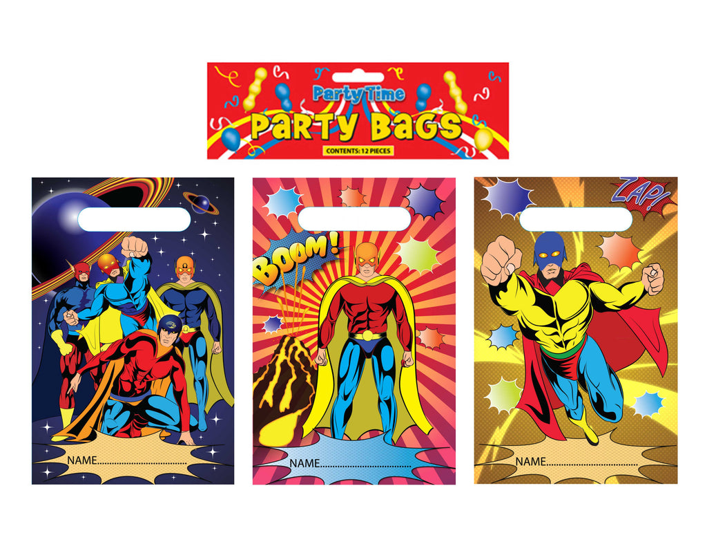 12 Super Hero Empty Party Bags - Party Perfecto