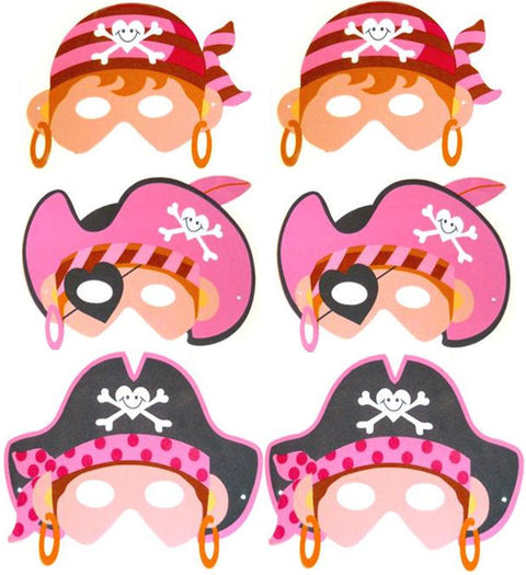 6 Foam Pink Pirate Masks