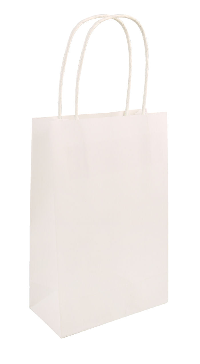 6 White Bags With Handles