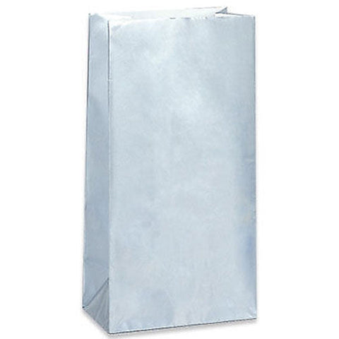 10 Silver Paper Gift Bags - Party Perfecto