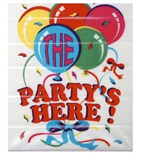 """The Party's Here"" Jumbo Hanging Poster - Party Perfecto"