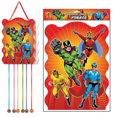 Super Hero Pullstring Pinata - Party Perfecto