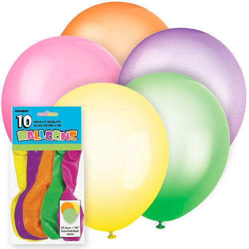 10 Assorted Neon Latex Balloons - Party Perfecto