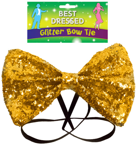 Gold Glitter Bow Tie
