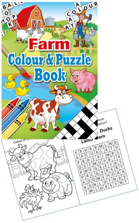 6 Farm Colour & Puzzle Books