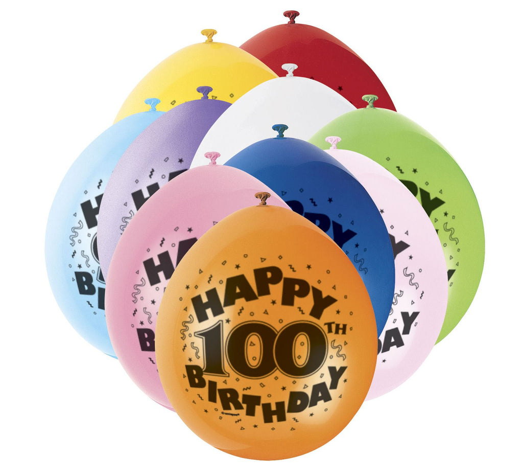 100th Birthday Latex Balloons - 10 Pack - Party Perfecto