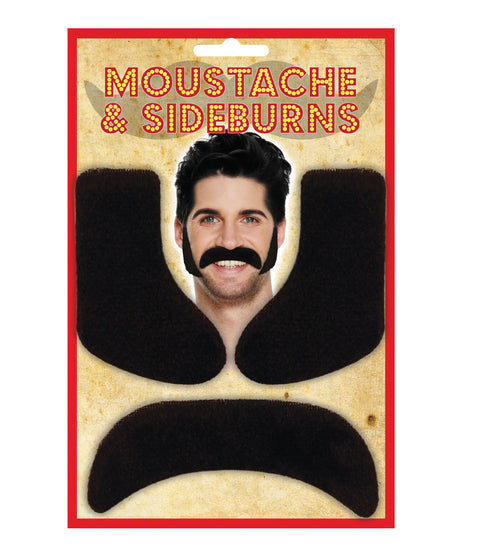 Black Moustache & Sideburns - Party Perfecto