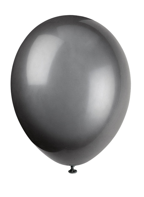 10 Phantom Black Latex Balloons - Party Perfecto