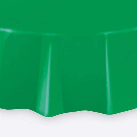 "Emerald Green Round 84"" Plastic Tablecover"