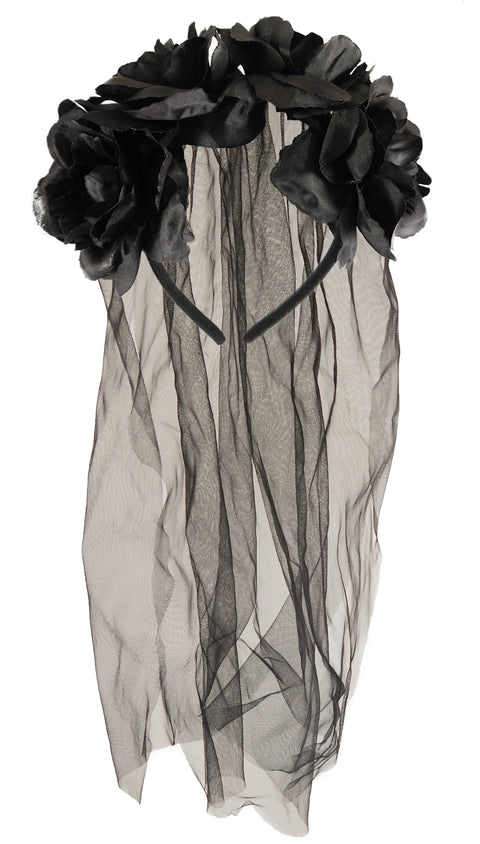 Black Flower Headband With Veil