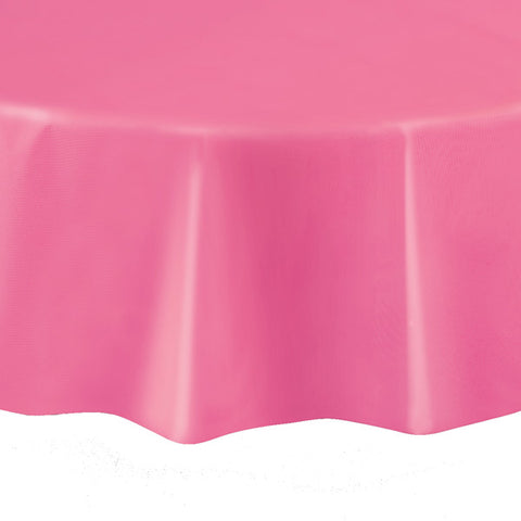 "Hot Pink Round 84"" Plastic Tablecover"