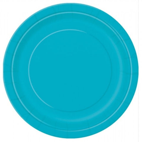"20 Caribbean Teal Round 7"" Paper Plates"