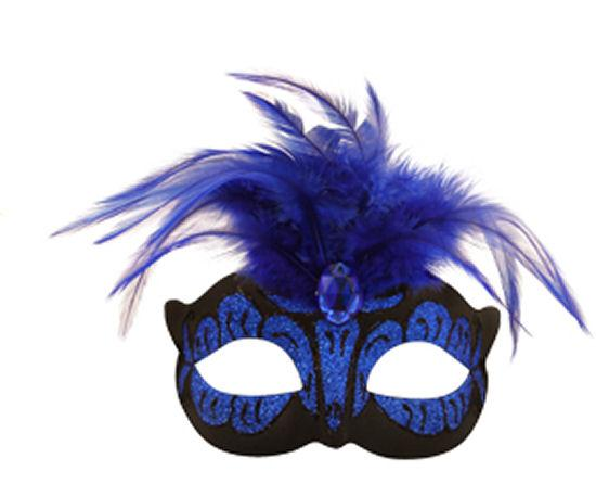 Neon Dark Blue Mask With Feathers - Party Perfecto