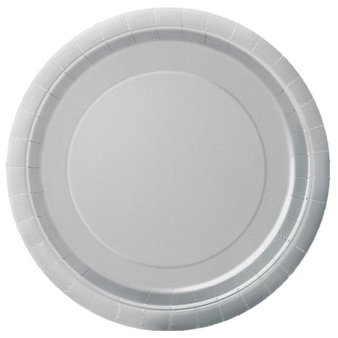 "20 Silver Round 7"" Paper Plates"