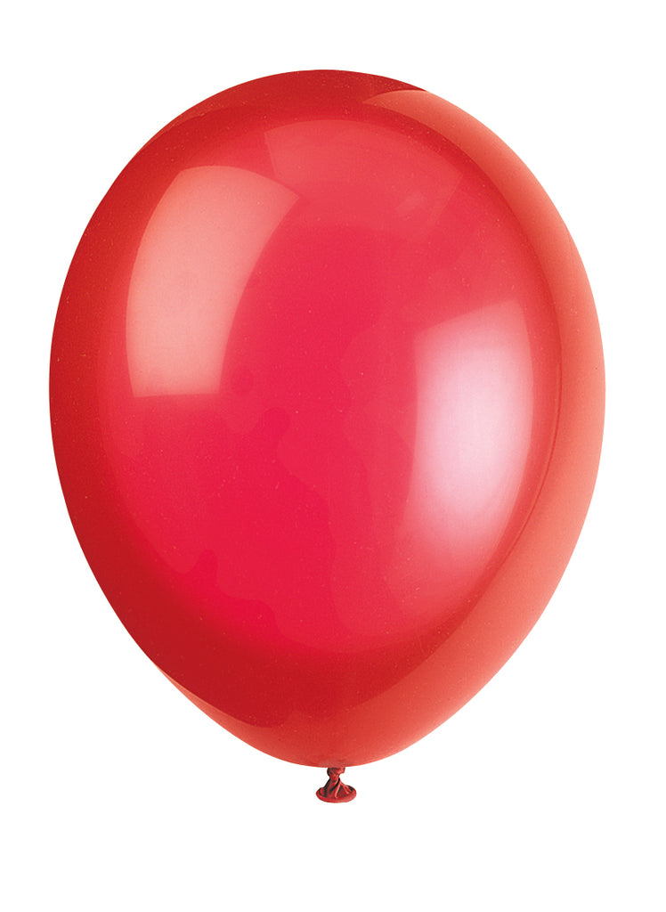 10 Scarlet Red Latex Balloons - Party Perfecto