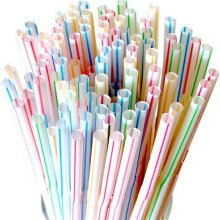50 Striped Flexable Plastic Straws